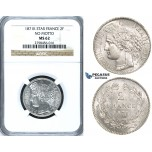ZF61, France, Third Republic, 2 Francs 1871-K, Bordeaux, Silver, NGC MS62