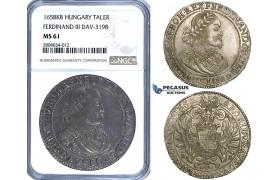 ZF70, Hungary, Ferdinand III, Taler 1658-KB, Kremnitz, Silver, NGC MS61