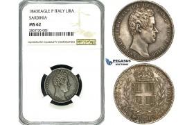 ZF71, Italy, Sardinia, Carlo Roberto, 1 Lira 1843-Eagle P, Turin, Silver, NGC MS62, Pop 1/0, Finest!