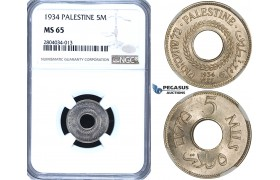 ZF74, Palestine, 5 Mils 1934, NGC MS65, Pop 2