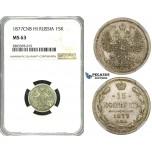 ZF86, Russia, Alexander II, 15 Kopeks 1877 СПБ-HI, St. Petersburg, Silver, NGC MS63