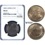 ZF94, South Africa (ZAR) 2 1/2 Shillings 1896, Silver, NGC MS63