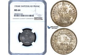 ZF95, Switzerland, 1 Franc 1904-B, Bern, Silver, NGC MS64, Pop 1/0, Finest! Rare!