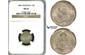 ZF98, Argentina, 10 Centavos 1882, Silver, NGC MS65, Pop 1/1, No finer!
