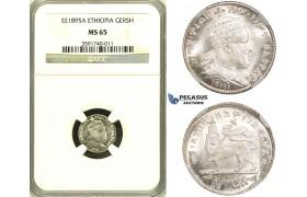 ZG01, Ethiopia, Menelik II, Gersh EE1895-A, Silver, NGC MS65