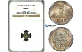 ZG05, Guatemala, 1/4 Real 1895, Silver, NGC MS66 (Rainbow toning) Pop 1/0, Finest!