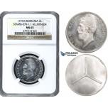 ZG09, Romania, Carol I, ESSAI 2 Lei ND (1910) Brussels, Aluminum, NGC MS65, Rare!