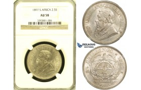 ZG11, South Africa (ZAR) 2 1/2 Shillings 1897, Silver, NGC AU58