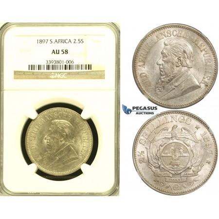 ZG11, South Africa (ZAR) 2 1/2 Shillings 1897, Silver, NGC AU58