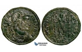 ZG18, Roman Empire, Vetranio (350 AD) Æ Nummus (4.91g) Siscia, Concordia/Standards, Remaining Silvering, EF