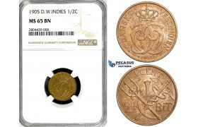 ZG21, Danish West Indies, Christian IX, 1/2 Cent (2-1/2 Bit) 1905, Copenhagen, NGC MS65BN