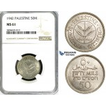 ZG24, Palestine, 50 Mils 1942, Silver, NGC MS61