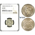 ZG33, Romania, Carol I, 1 Leu 1885-B, Bucharest, Silver, NGC AU58, Rare!