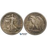 ZG35, United States, Walking Liberty Half Dollar (50C) 1918, Philadelphia, Silver, Toned VF