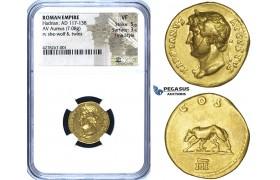 ZG39, Roman Empire, Hadrian (117-138 AD) AV Aureus (7.08g) Rome, 125-128 AD, She-wolf & twins, NGC VF, Fine Style, Rare!