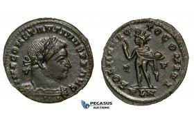 ZG42, Roman Empire, Constantine I (306-337 AD), Æ Nummus (3.82g) Londinium (London) Sol Standing, BrownVF-EF