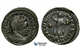 ZG43, Roman Empire, Constantine I (306-337 AD), Æ Nummus (2.84g) Londinium (London) Sol Standing, Brown VF-EF