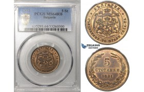 ZG55, Bulgaria, Alexander I, 5 Stotinki 1881, Heaton, PCGS MS64RB
