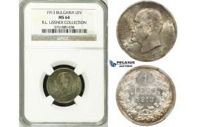 ZG56, Bulgaria, Ferdinand I, 1 Lev 1913, Silver, NGC MS64 ex. Lissner