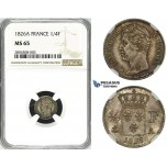 ZG61, France, Charles X, 1/4 Franc 1826-A, Paris, Silver, NGC MS65, Pop 1/0, Finest!