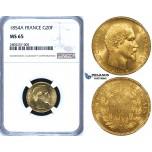 ZG62, France, Napoleon III, 20 Francs 1854-A, Paris, Gold, NGC MS65