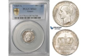 ZG68, Greece, George I, 50 Lepta 1883-A, Paris, Silver, PCGS MS63