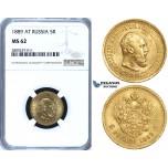 ZG73, Russia, Alexander III, 5 Roubles 1889 (AГ) St. Petersburg, Gold, NGC MS62