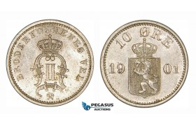 ZG91, Norway, Oscar II, 10 Øre 1901, Kongsberg, Silver, Lustrous aUNC