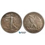 ZG95, United States, Walking Liberty Half Dollar (50C) 1918, Philadelphia, Silver, Toned VF-XF