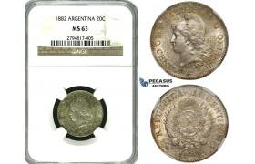 ZG96, Argentina, 20 Centavos 1882, Silver, NGC MS63