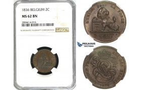 ZG98, Belgium, Leopold I, 2 Centimes 1836, NGC MS62BN (No dot)
