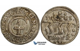 ZH04, Denmark, Christian IV, 2 Mark 1645, Copenhagen, Silver (10.72g) H 148, Mount removed, VF