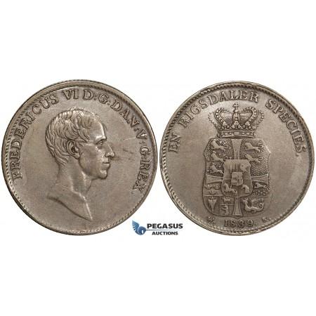 ZH08, Denmark, Frederik VI, 1 Speciedaler 1839 WS, Copenhagen, Silver, H 26C, Toned gVF