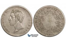 ZH09, Denmark, Lauenborg, Frederik VI, 2/3 Taler 1830 FF, Altona, Silver, H 1, F-VF