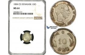 ZH11, Denmark, Christian IX, 10 Øre 1884, Copenhagen, Silver, NGC MS64
