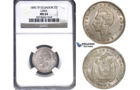 ZH12, Ecuador, 2 Decimos De Sucre 1892 TF, Lima, Silver, NGC MS64