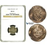 ZH16, France, Louis Philippe, 1/2 Franc 1838-A, Paris, Silver, NGC MS64, Pop 1/0, Finest!