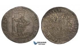 """ZH20, Germany, Brunswick-Wolfenbüttel, Heinrich Julius, """"Wild man"""" Taler 1610, Zellerfeld, Silver (29.09g) Toned EF"""