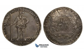 "ZH21, Germany, Brunswick-Lüneburg, George I of England, ""Wild man"" Taler 1727 EPH, Zellerfeld, Silver (28.93g) Toned VF"