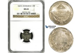 ZH29, Honduras, 1/8 Real 1869-A, Paris, NGC MS65