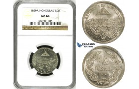 ZH30, Honduras, 1/2 Real 1869-A, Paris, NGC MS64