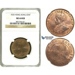 ZH33, Hong Kong, George V, 1 Cent 1925, NGC MS64RB