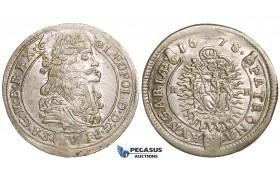 ZH35, Hungary, Leopold I, XV Krajczar 1678-KB, Kremnitz, SIlver (6.20g) Lustrous EF