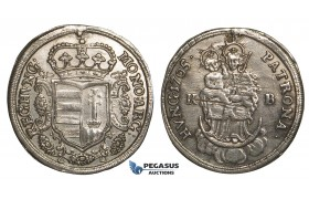 ZH37, Hungary, Rebellion of the Malcontents under Franz Rakoczi, 1/2 Taler 1705-KB, Kremnitz, Silver (14.34g) gVF (Mount removed)