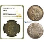 ZH42, Liechtenstein, Johann II, 5 Kronen 1904, Vienna, Silver, NGC MS61