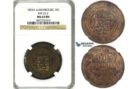 ZH45, Luxembourg, William III, 10 Centimes 1855-A, Paris, NGC MS63BN