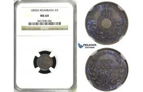ZH46, Mombasa, 2 Annas 1890-H, Heaton, Silver, NGC MS64 (Violet toning)