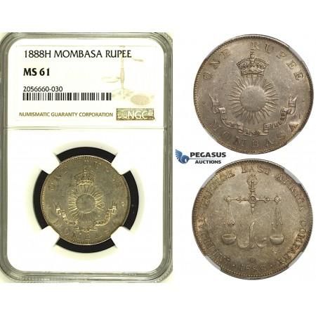 ZH47, Mombasa, 1 Rupee 1888-H, Heaton, Silver, NGC MS61