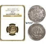 ZH48, Netherlands East Indies (Batavian Republic) 1/4 Gulden 1802, Silver, NGC MS62
