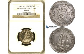 ZH48, Netherlands East Indies (Batavian Republic) 1/4 Gulden 1802, Silver, NGC MS62